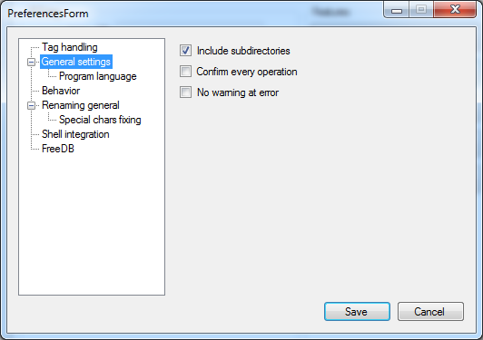 Preferences - General settings
